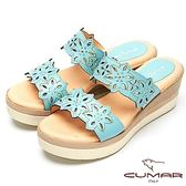 ★2018春夏新品★【CUMAR】舒適底台-簍空設計真皮厚台涼鞋(水藍色)