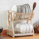 瀝水架 廚房碗筷收納盒放碗瀝水迷你碗櫃架餐具家用多功能碗碟雙層置物架 【夏日新品】