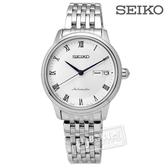 SEIKO 精工 / 4R36-04F0S.SRP887J1 / 鑄就永恆藍寶石水晶玻璃機械腕錶 銀白 34mm
