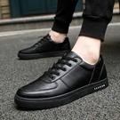 皮鞋 夏季防滑板鞋黑色男鞋子酒店廚師上班耐磨防水休閒皮鞋廚房工作鞋