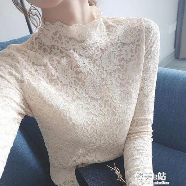 年新款秋季上衣網紗蕾絲打底衫女長袖韓版洋氣高檔內搭小衫潮 韓美e站