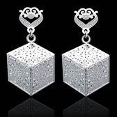 925純銀耳環(耳針式)-個性方形造型生日情人節禮物女飾品73ao40[巴黎精品]