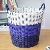 塑料藤編臟衣籃臟衣服收納筐衣物折疊洗衣籃衣簍玩具桶編織框簍子igo