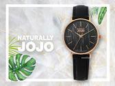 【時間道】NATURALLY JOJO  時尚簡約木紋腕錶 / 黑面玫瑰金殼黑皮帶(JO96932-88R)免運費