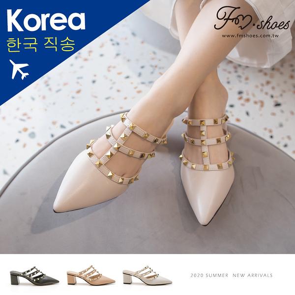 穆勒鞋.尖頭鉚釘高跟穆勒鞋(杏、粉)-大尺碼-FM時尚美鞋-韓國精選.Chill