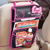 〔小禮堂〕KITTY 汽車多用途置物袋《黑.桃紅大蝴蝶結》一物多用省空間  4905339-86425