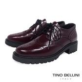 Tino Bellini 義大利進口臘感皮革品味雕花中跟牛津鞋 _ 酒紅 B79203A 歐洲進口款