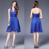 禮服  網紗掛脖露背接短版氣質優雅晚禮服  4-12碼(可訂製) #jh384 ❤卡樂❤