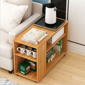 【Incare】移動木紋兩層附滾輪沙發邊櫃(短款 60*60*30cm楓葉木