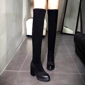 真皮過膝靴-時尚簡約百搭彈力粗跟女長靴2色73iv18[時尚巴黎]