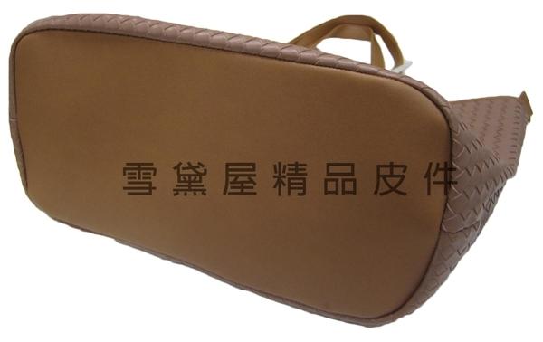 ~雪黛屋~MODO 托特包大容量可放A4進口專櫃編織紋進口防水防刮皮革+棉質內裡手提肩背B360004-2