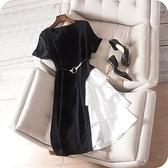 洋裝-短袖撞色拼接時尚優雅連身裙73sz32【時尚巴黎】