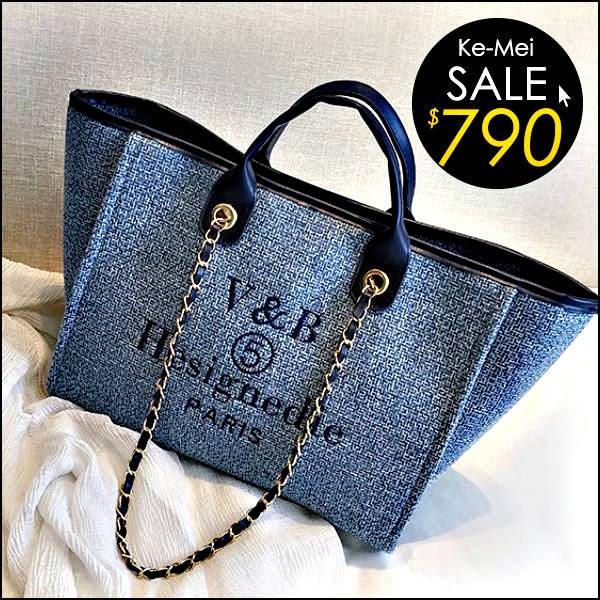 克妹Ke-Mei【ZT47522】本季重推!超時髦小香風電繡字母毛尼格紋鐵鍊大方包