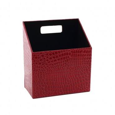 LOVEL 經典鱷魚紋皮革收納 多功能梯形雜誌盒(復古紅)