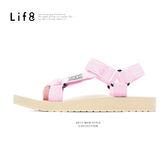 Casual 織帶 配色織帶涼拖鞋-粉紫【09694】