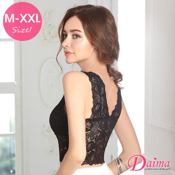 玫瑰無鋼圈(M-XXL)免罩設計美背蕾絲款_黑色【Daima黛瑪】