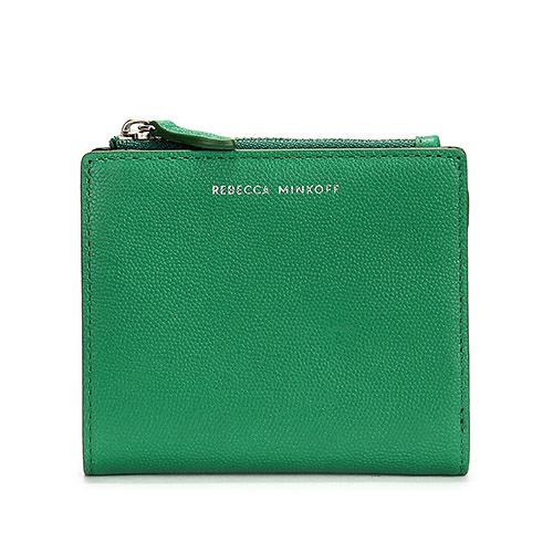 Rebecca Minkoff BI-FOLD高質感顆粒細紋皮革拉鍊零錢包短夾(綠色)220125-1