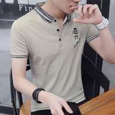 男士t恤短袖夏季青年POLO衫韓版潮流翻領夏天衣服男裝襯衫領半袖 魔方數碼館