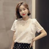 蕾絲上衣 蕾絲上衣女夏季短袖2020新款韓版時尚鏤空設計感小眾寬鬆打底小衫 寶貝計書