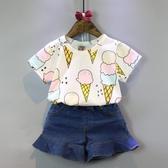 韓版女童夏季新款甜美冰激凌百搭短袖T恤