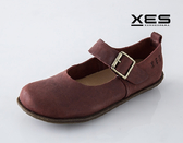 XES 瘋馬皮環扣真皮休閒鞋 舒適好穿 酒紅色 女款