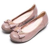 DIANA 舒適甜美--質感鑽飾蝴蝶結娃娃鞋-芋粉★特價商品恕不能換貨★