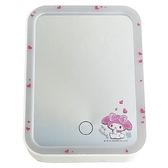 小禮堂 美樂蒂 方形LED化妝鏡 補光燈化妝鏡  美妝鏡 桌鏡 立鏡 (粉 愛心) 4718007-01359