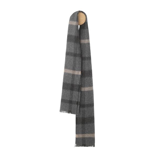 Elvang London Alpaca Wool Scarves 30x160cm 100% 倫敦系列 格紋 超輕量 羊駝毛 圍巾(雅痞黑灰)