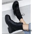 PAPORA經典彈力綁帶裝飾馬丁靴中筒騎...