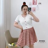 針織衫女開衫寬松顯瘦T恤上衣大碼夏薄款撞色【聚物優品】
