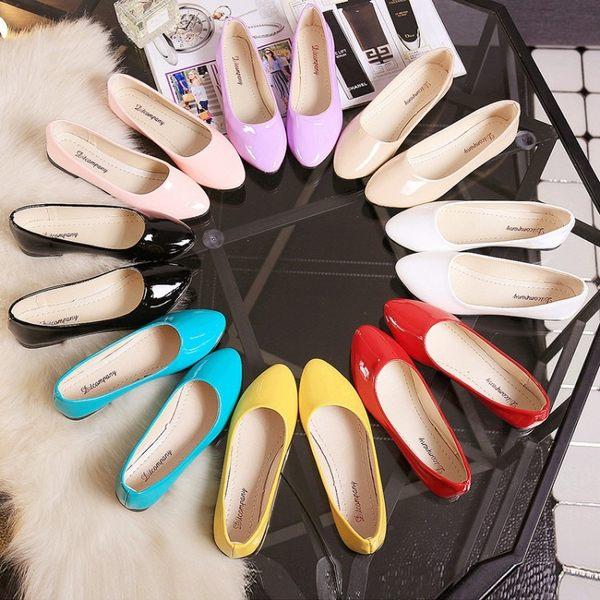 正韓豆豆鞋女新品夏季平底單鞋淺口平跟休閒鞋防滑懶人鞋大尺碼女鞋 8色可選35-42碼