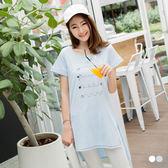 OB嚴選《AB0766-》童趣刺繡側擺開衩前短後長棉感長版上衣.2色--適 M~XL