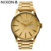 NIXON手錶 原廠總代理A356-502 THE SENTRY SS 金色 潮流時尚鋼錶帶 男女 運動 生日情人節禮物