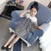 女童夏裝連身裙新款洋氣童裝女中大童格子娃娃裙兒童短袖裙子歐歐流行館