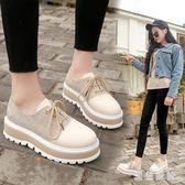 鬆糕厚底單鞋女休閒舒適中大尺碼新款韓版英倫風學生系帶增高女鞋js5676『黑色妹妹』