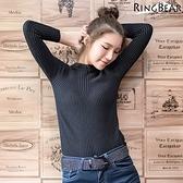 針織--簡約暖膚休閒俐落立領素面羊毛直紋針織長袖上衣(黑.灰XL-3L)-X218眼圈熊中大尺碼