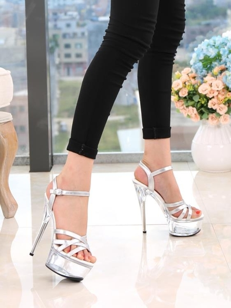走秀鞋恨天高高跟鞋女涼鞋模特細跟15cm厚底防水臺夜店鋼管舞鞋子 交換禮物