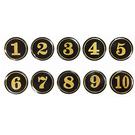A5 3cm數字圓貼牌/黏牌/標示牌/桌牌 黑底金字 1~99