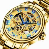 全自動機械錶男士商務腕錶男防水夜光學生鏤空陀飛輪鋼帶老年男錶