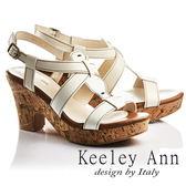 ★2017春夏★Keeley Ann經典美型~復古交叉真皮仿木質粗高跟涼鞋(米色)