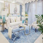 簡約現代北歐地中海藍色歐式美式地毯客廳茶幾臥室床尾家用地毯·樂享生活館liv
