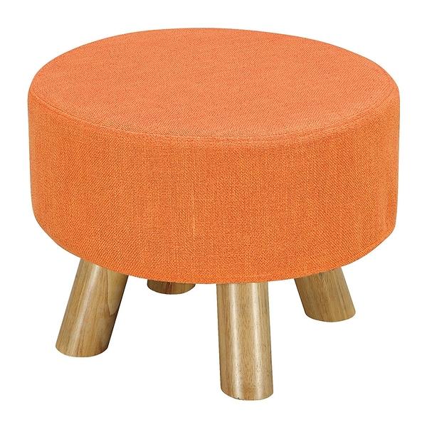 【森可家居】強尼橘色圓凳 8ZX560-11 麻布椅凳 實木腳 北歐風
