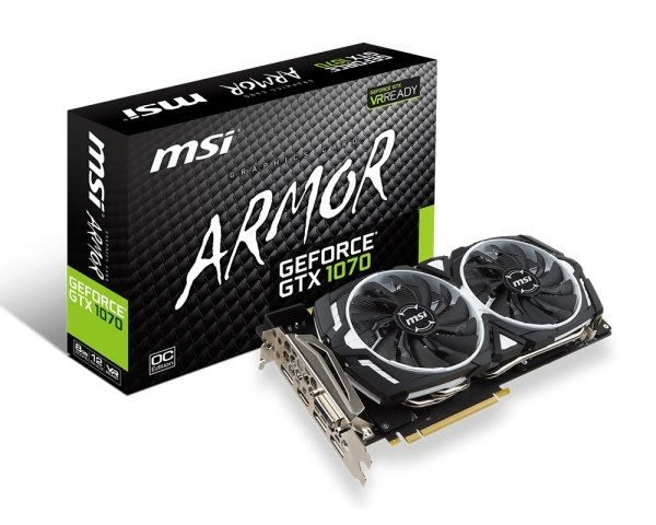 現貨1片 MSI 微星 GEFORCE GTX 1070 ARMOR 8GB OC Edition 全新現貨 未拆封