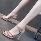 防水臺高跟鞋女細跟2021年夏款性感一字帶露趾女時裝涼鞋超高跟