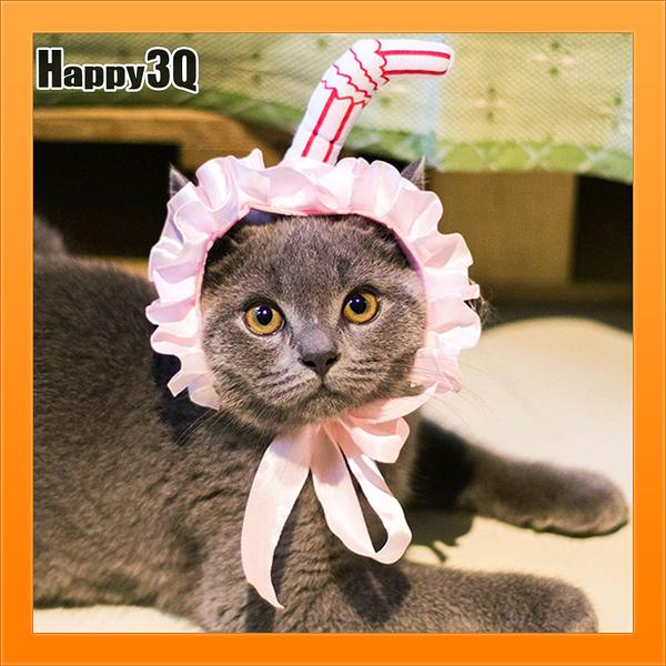 吸貓創意寵物衣服貓頭套蕾絲圍裙寵物頭飾貓咪髮箍寵物帽子-粉/黃【AAA4530】預購