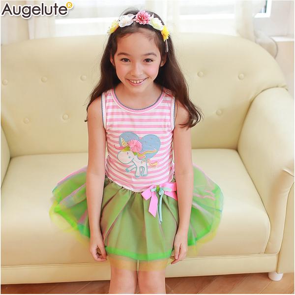無袖洋裝 條紋 獨角獸圖騰 女童 女寶寶 連身裙 洋裙 連衣裙 Augelute 52246