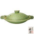 【日本長谷園伊賀燒】綠釉淺型調理鍋-福利品