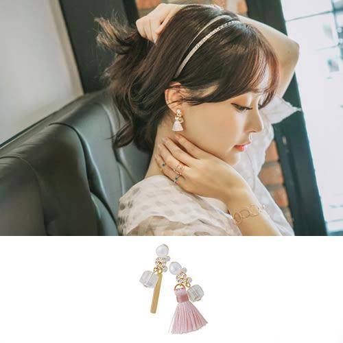 耳環 韓系氣質精緻珍珠小流蘇不對稱耳環【TS364】 BOBI  02/01