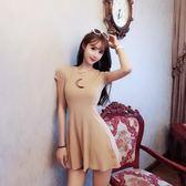 連身裙 新款女裝春裝縷空網紅衣服短袖夏季女顯瘦小心機短裙子
