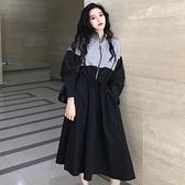 春裝新款港風chic中長款寬鬆立領收腰長袖洋裝女學生裙子潮